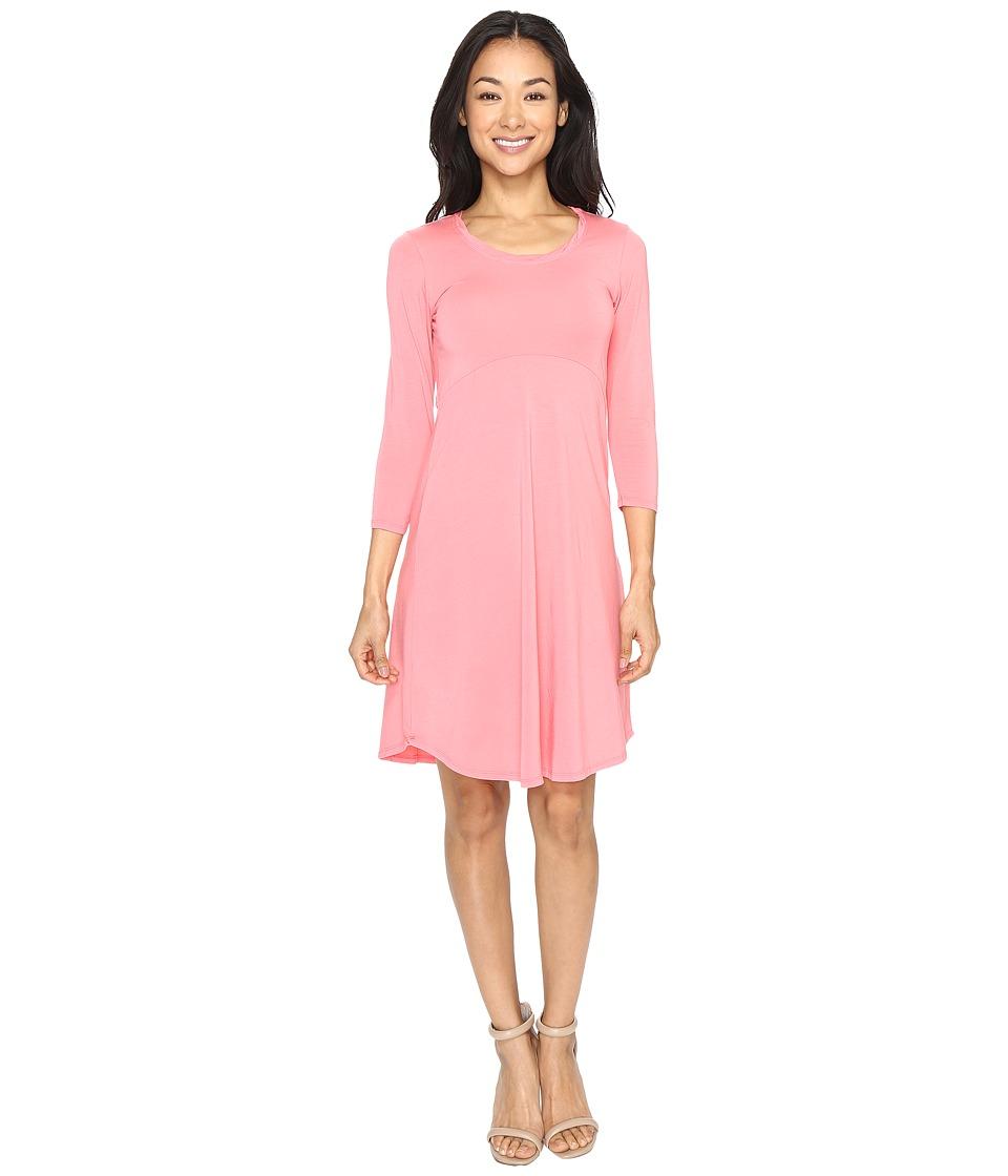 Mod-o-doc Cotton Modal Spandex Jersey Crescent Empire Seam Dress (Guava) Women