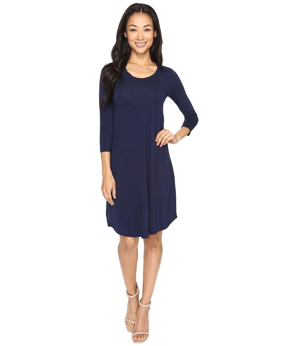Mod-o-doc Cotton Modal Spandex Jersey Crescent Empire Seam Dress (True Navy) Women