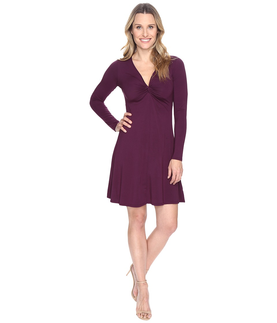 Mod-o-doc Cotton Modal Spandex Jersey Twist Front Empire Seamed Dress (Spiced Plum) Women