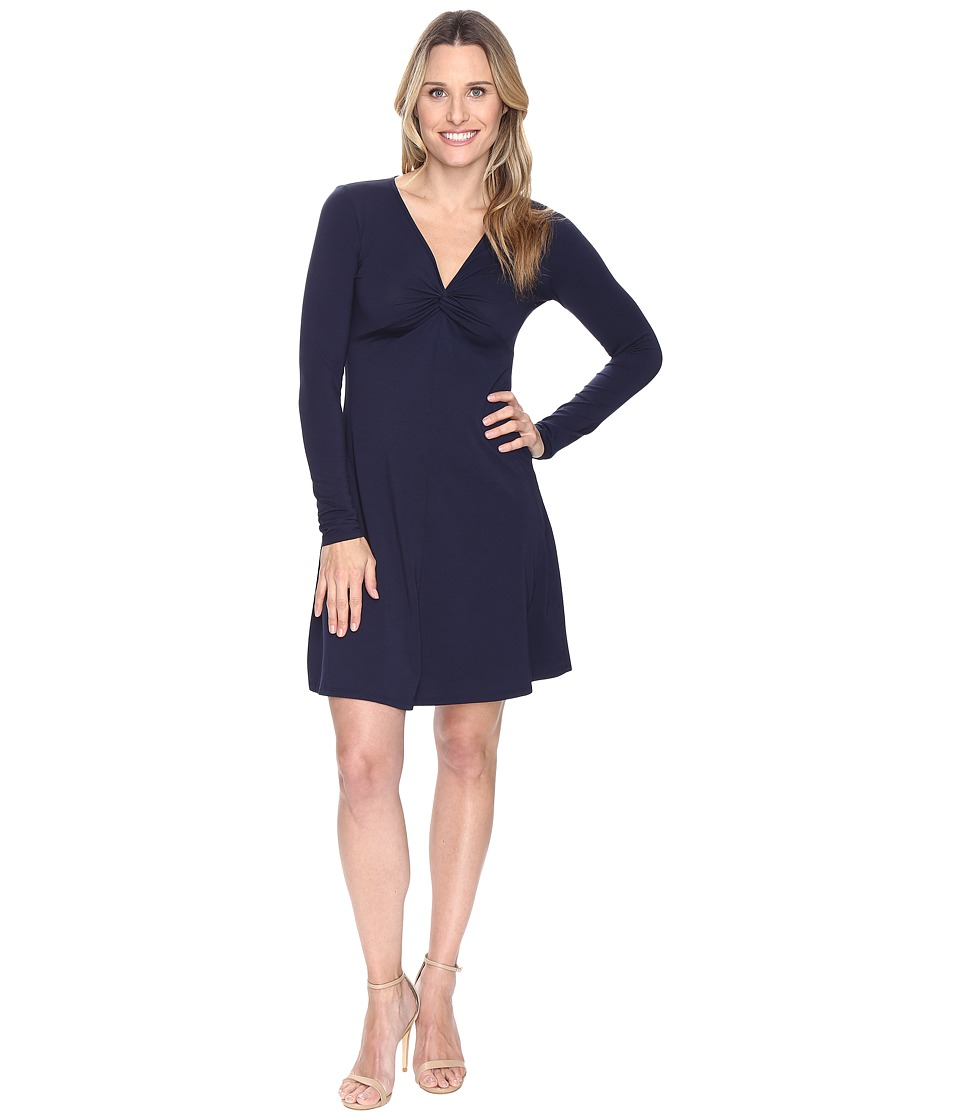 Mod-o-doc Cotton Modal Spandex Jersey Twist Front Empire Seamed Dress (True Navy) Women