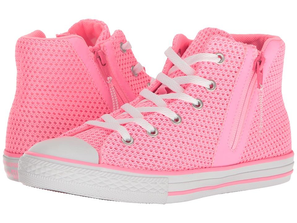 Converse Kids Chuck Taylor All Star Sport Zip Hi (Little Kid/Big Kid) (Pink Glow/Neo Pink/White) Girl