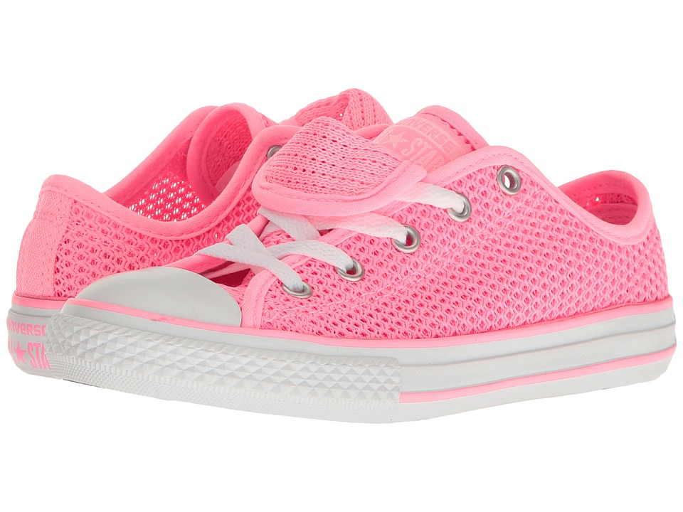 Converse Kids Chuck Taylor All Star Double Tongue Ox (Little Kid/Big Kid) (Pink Glow/Pink Glow/White) Girl