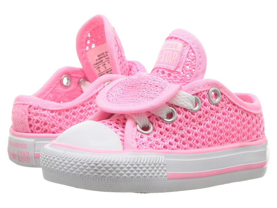 Converse Kids Chuck Taylor All Star Double Tongue Ox (Infant/Toddler) (Pink Glow/Pink Glow/White) Girl