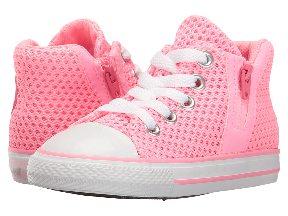 Converse Kids Chuck Taylor All Star Sport Zip Hi (Infant/Toddler) (Pink Glow/Neo Pink/White) Girl