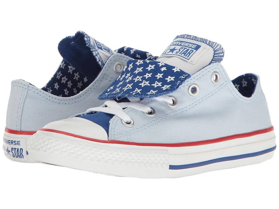 Converse Kids Chuck Taylor All Star Double Tongue Ox (Little Kid/Big Kid) (Porpoise/Blue/White) Girl