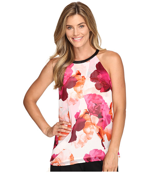 Calvin Klein Printed Halter Top w/ Faux Leather