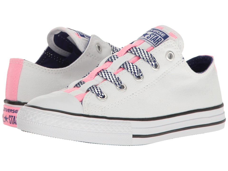 Converse Kids Chuck Taylor All Star Loopholes Ox (Little Kid/Big Kid) (White/Pink Glow/True Indigo) Girl