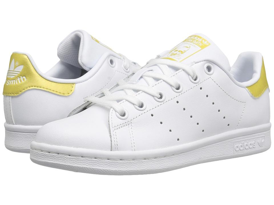 adidas Originals Kids Stan Smith (Big Kid) (White/White/Gold Metallic) Kids Shoes