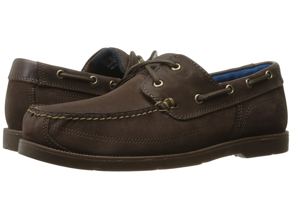 Timberland Piper Cove Leather Boat Shoe (Dark Brown Nubuck) Men