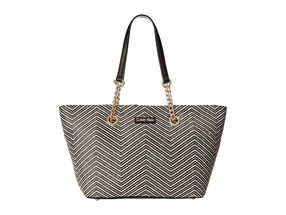 Calvin Klein - Florence Raffia Nylon Tote (Black/White Chevron) Tote Handbags