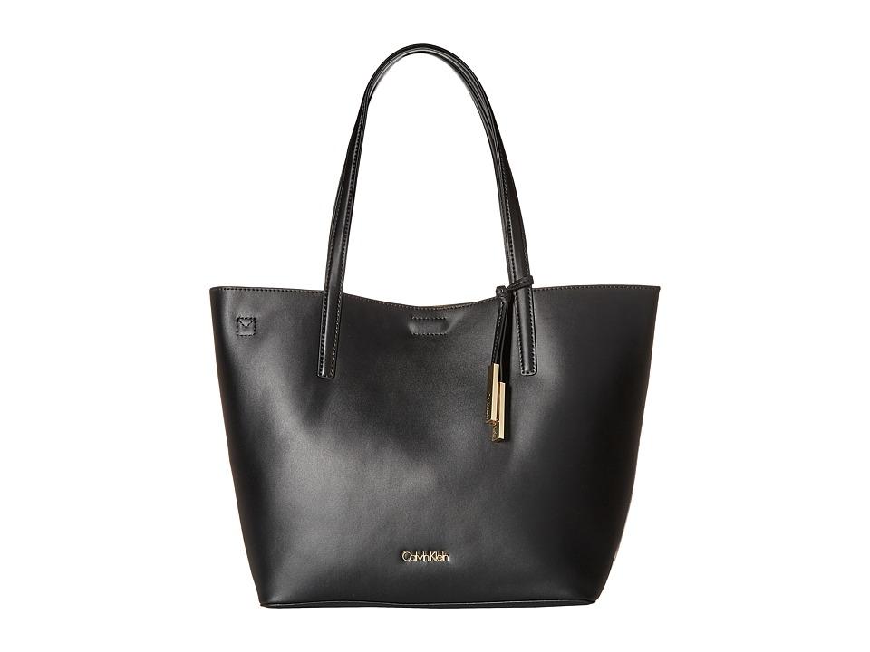 Calvin Klein - Key Items Smooth Leather Tote (Black/Nutmeg) Tote Handbags