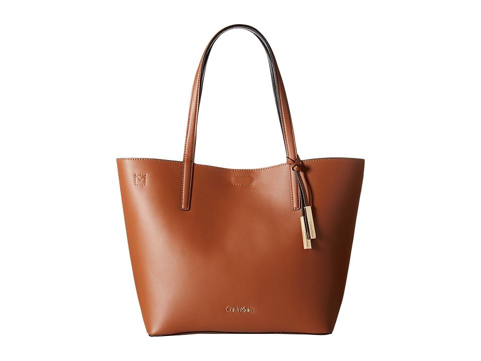 Calvin Klein - Key Items Smooth Leather Tote (Luggage/Black) Tote Handbags