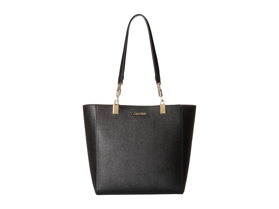 Calvin Klein - Key Item Saffiano Tote (Black/Gold) Tote Handbags