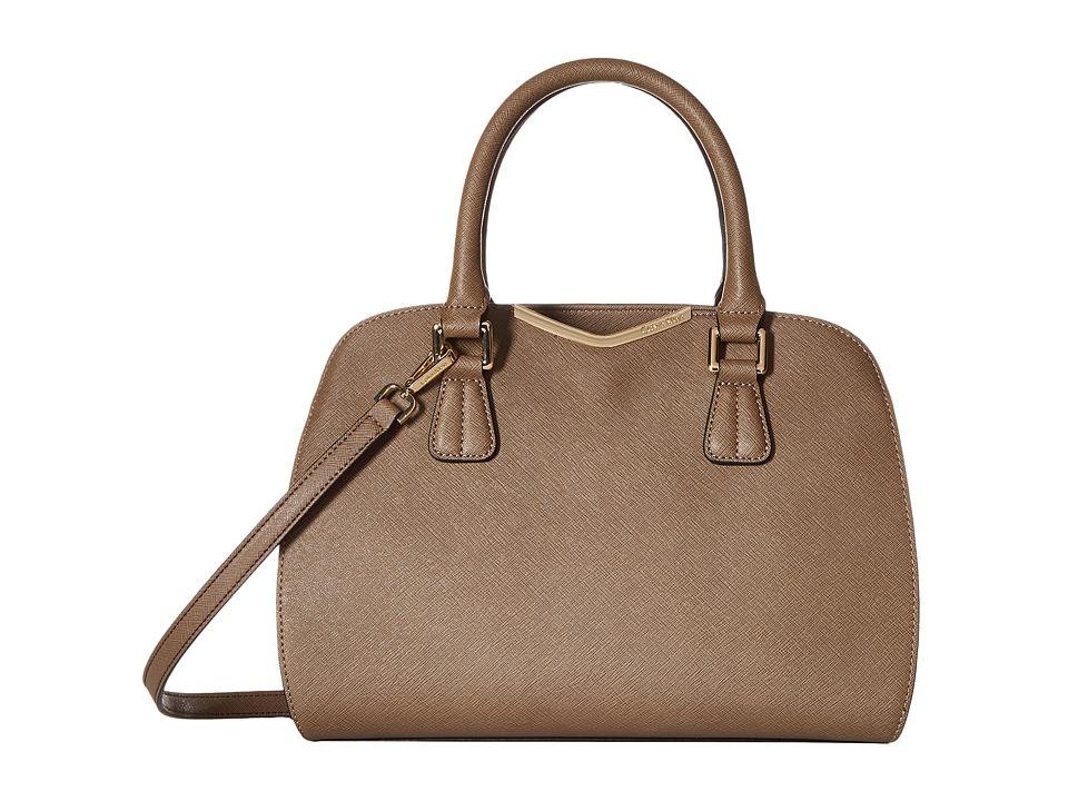 Calvin Klein - On My Corner Saffiano Satchel (Dark Taupe) Satchel Handbags