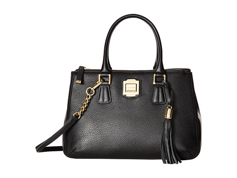 Calvin Klein Elana Pebble Satchel - Black/Gold