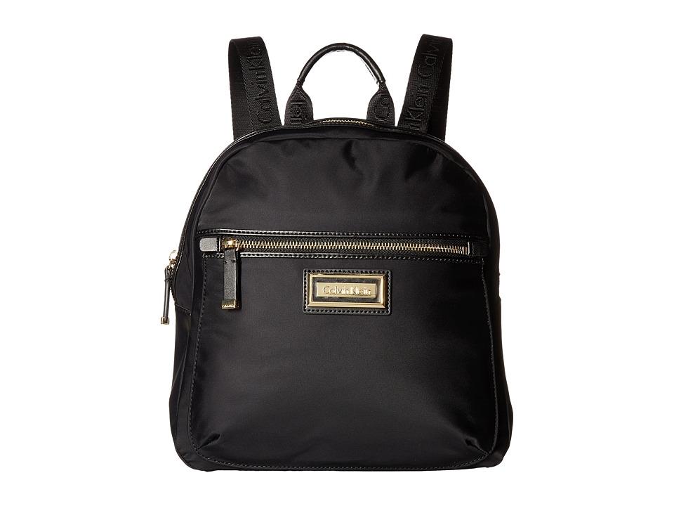 Calvin Klein Belfast Dressy Nylon Backpack (Black/Gold) B...