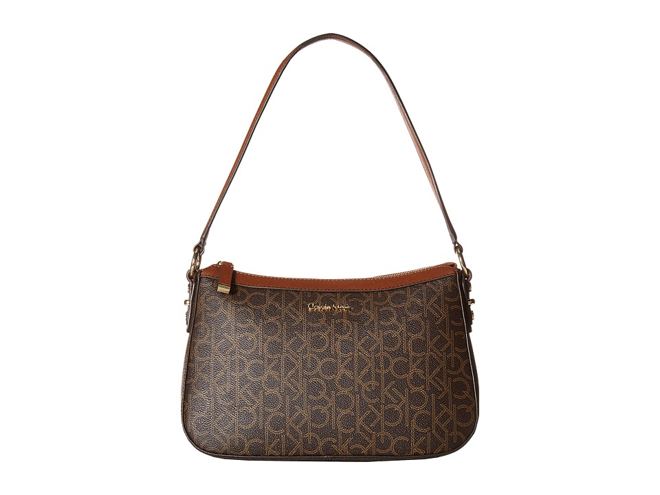 Calvin Klein - Hudson Monogram Demi (Brown/Khaki/Luggage) Handbags