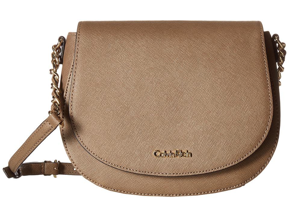 Calvin Klein - Key Items Saffiano Saddle Bag (Dark Taupe) Handbags