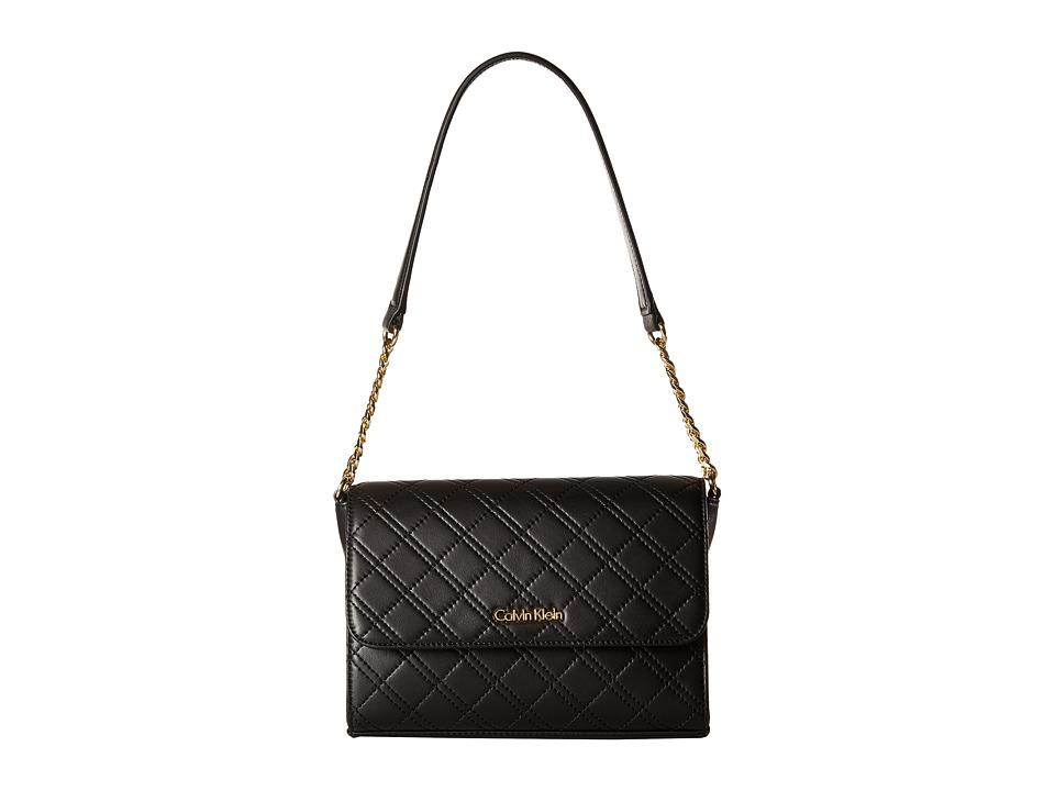 Calvin Klein - Permanent Quilted Lamb Shoulder Bag (Black/Gold) Handbags