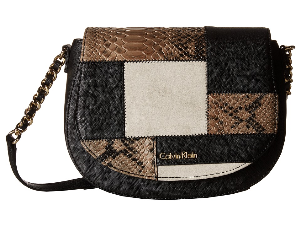 Calvin Klein - Key Items Saffiano Saddle Bag (Black/Khaki Snake Patch) Handbags