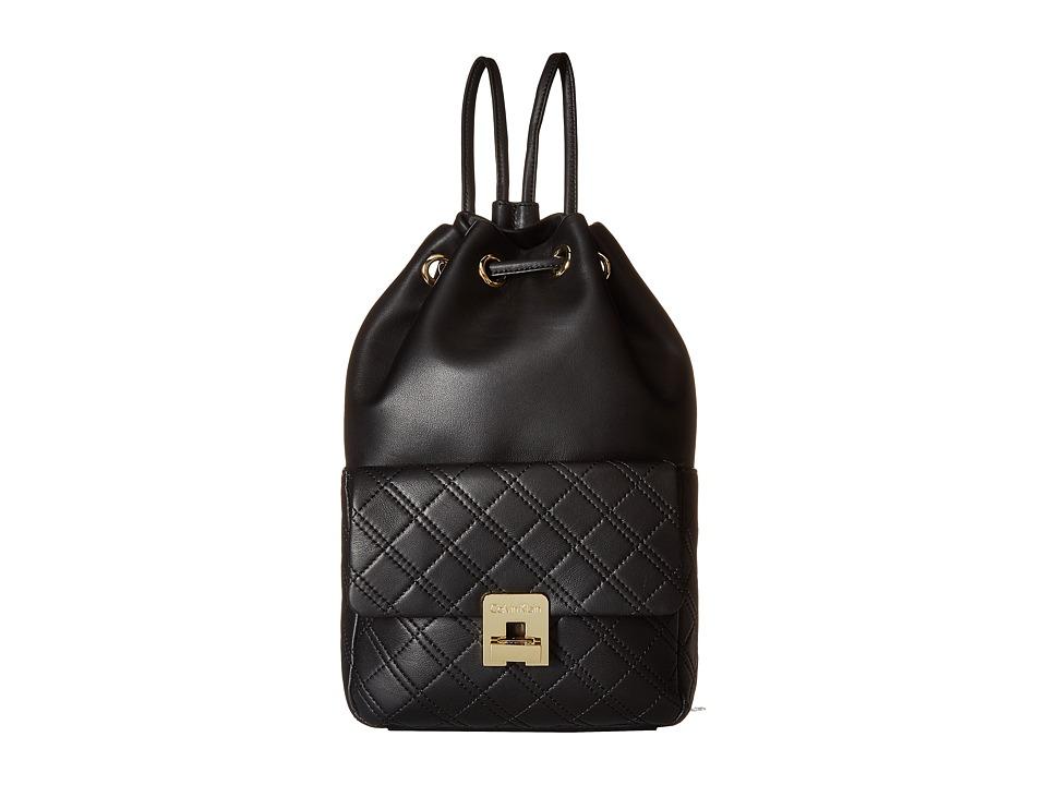 Calvin Klein - Permanent Quilted Lamb Drawstring (Black/Gold) Drawstring Handbags