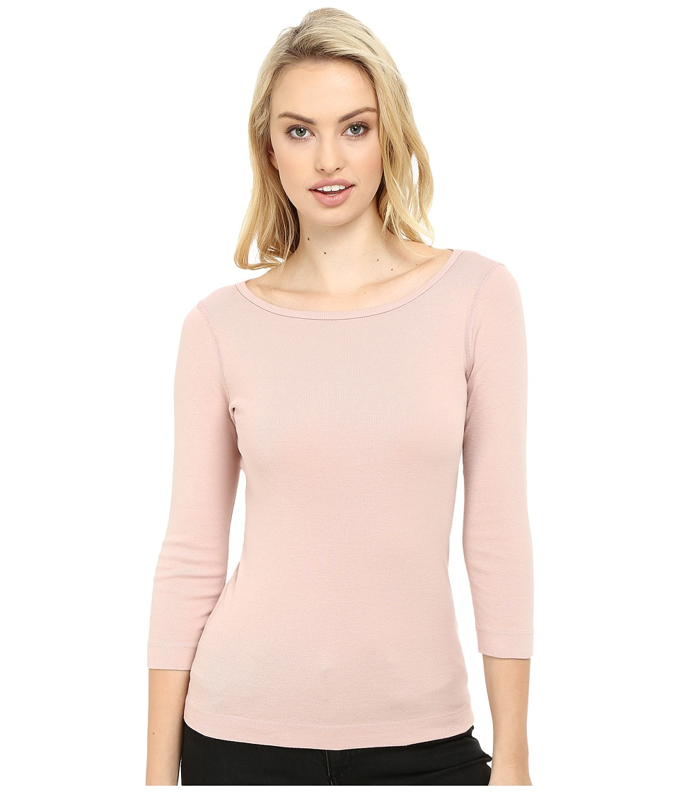 Three Dots - 3/4 Sleeve British Tee (Pink Bloom) Women