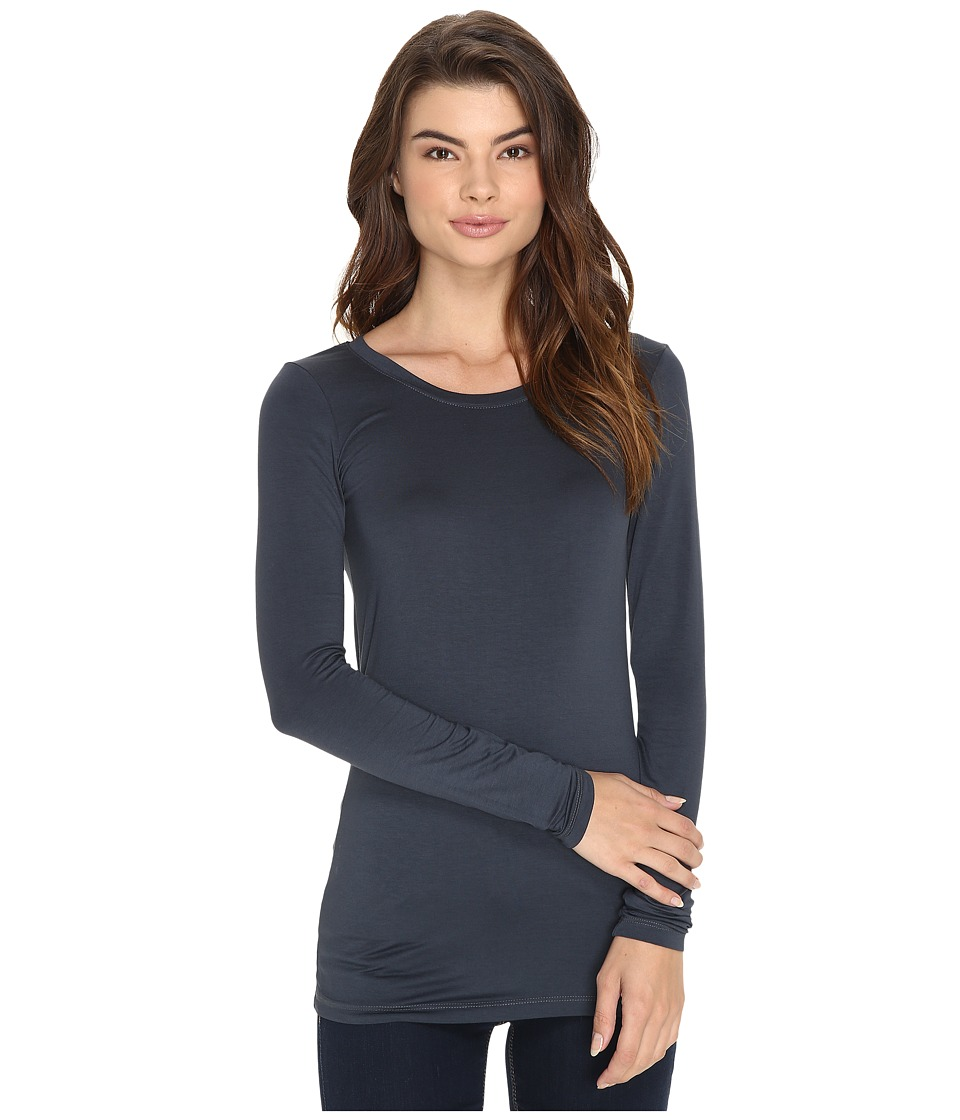 Three Dots - Lightweight Viscose L/S Open Crew Neck (Cinder) Women
