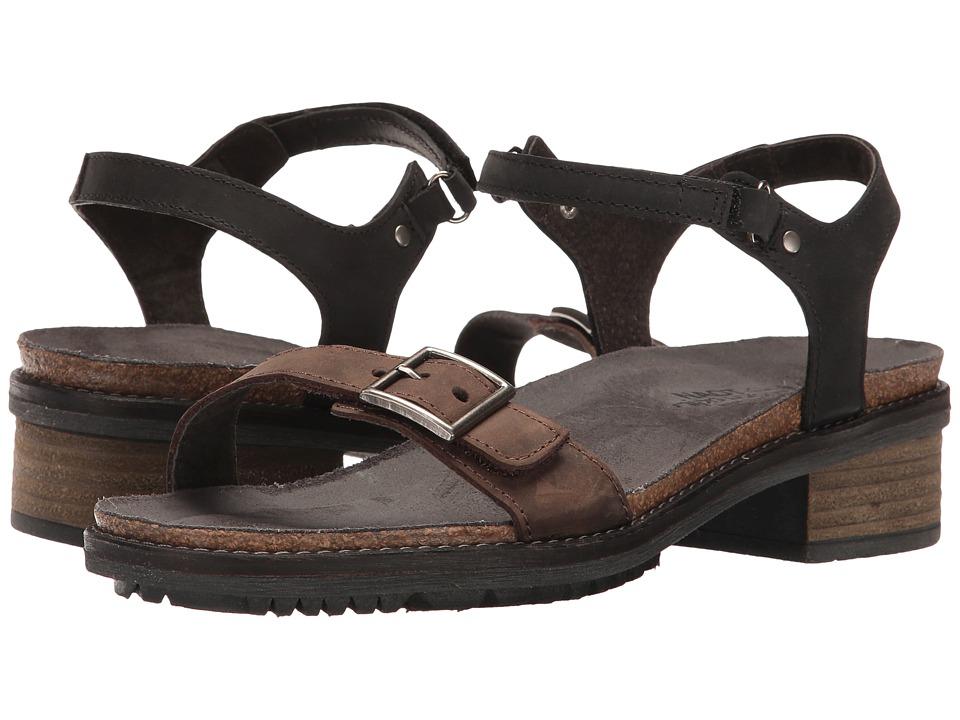 Naot Footwear Boho (Crazy Horse Leather/Oily Coal Nubuck) Women