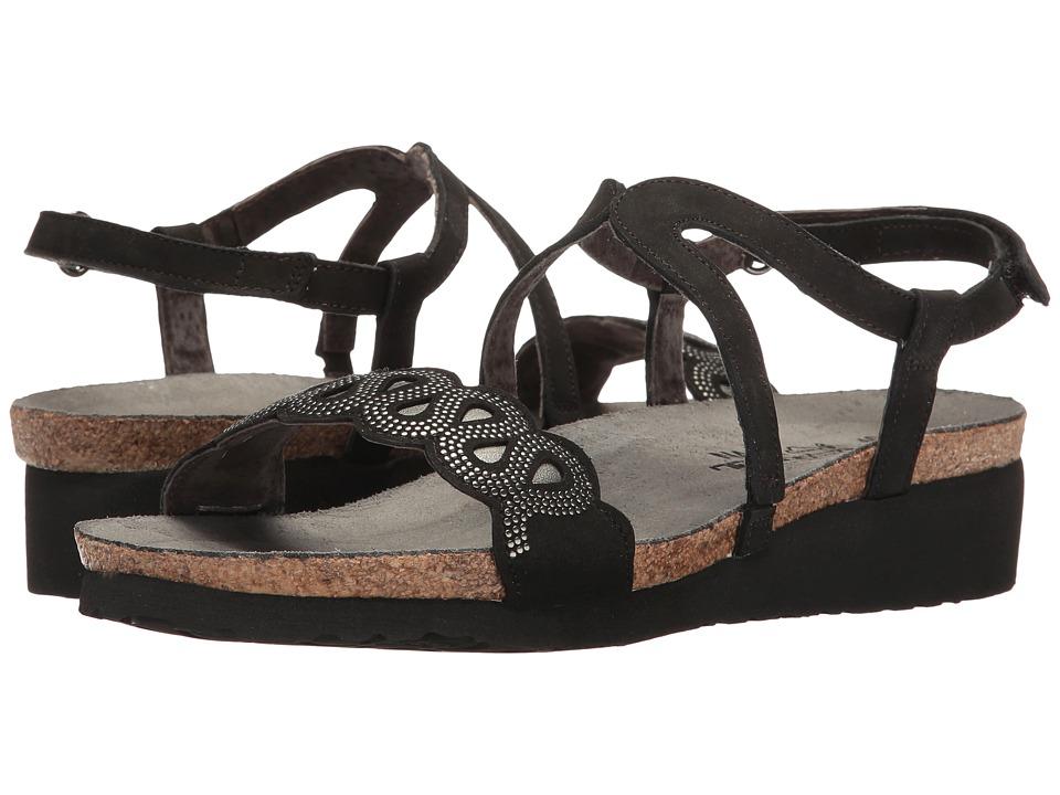 Naot Footwear Addie (Black Velvet Nubuck/Sterling Leather/Silver Rivets) Women