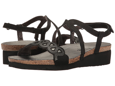 Naot Footwear Addie - Black Velvet Nubuck/Sterling Leather/Silver Rivets