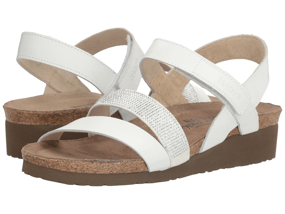 Naot Krista (White Leather/Silver Rivets) Sandals