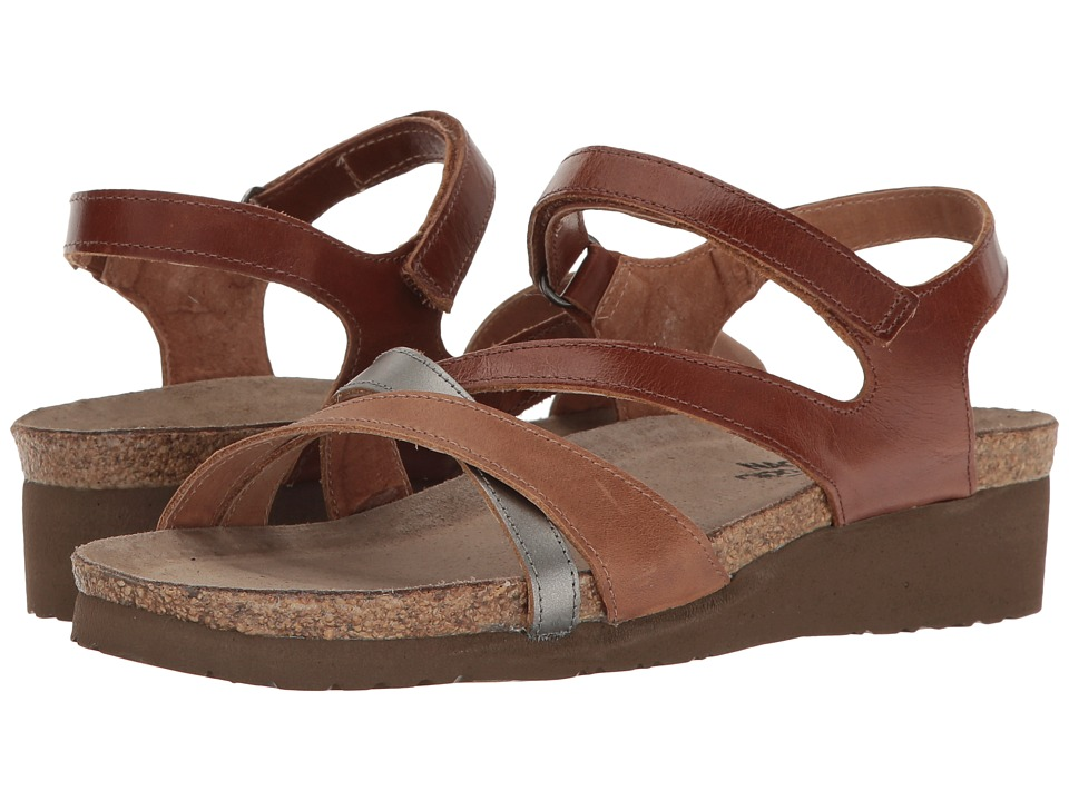 Naot Sophia (Maple Brown Leather/Latte Brown Leather/Mirror Leather) Sandals