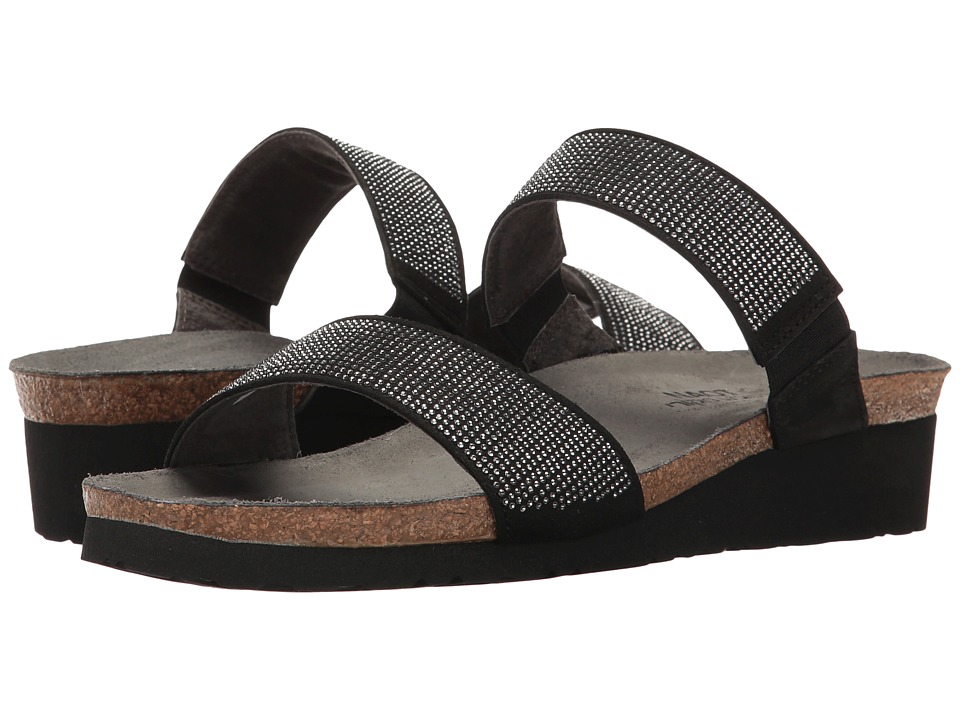 Naot - Bianca (Black Microfiber/Silver Rivets/Black Velvet Nubuck) Women's Sandals