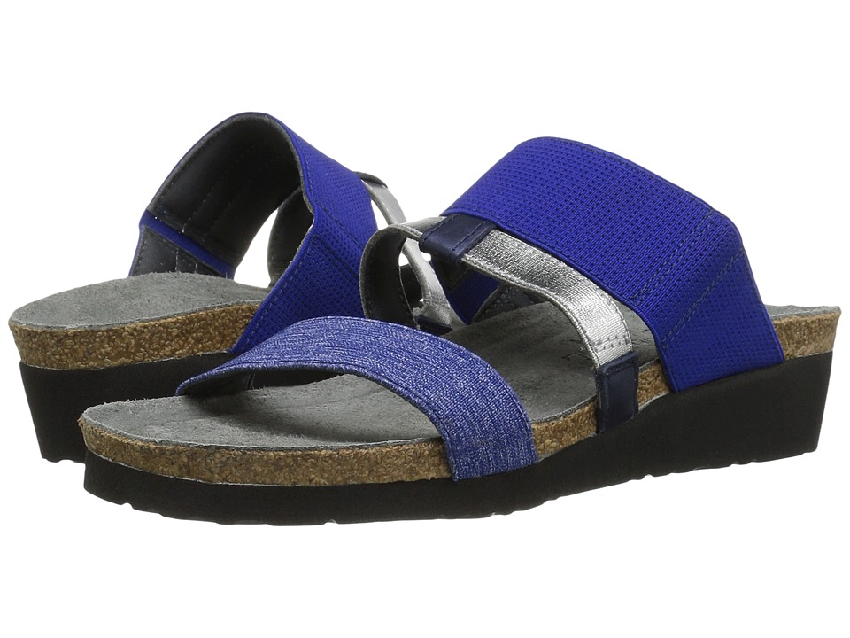 Naot Brenda (Blue/Silver Stretch Combo/Polar Sea Leather) Sandals