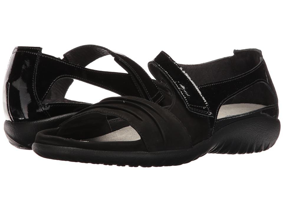 Naot Papaki (Black Patent Leather/Black Velvet Nubuck) Women's Shoes