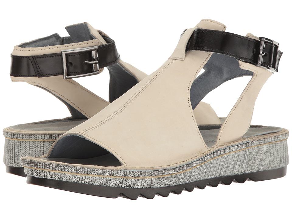 Naot Verbena (Beige Nubuck/Black Madras Leather) Women's Shoes