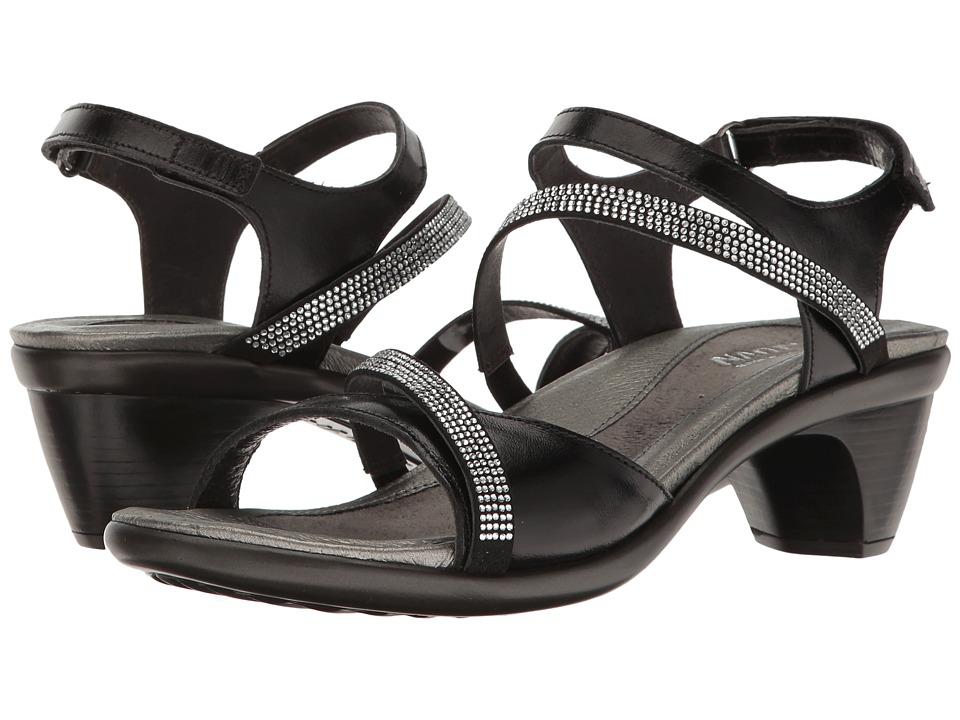 Naot Footwear Innovate (Black Madras Leather/Black Microfiber/Clear Rhinestones) Women