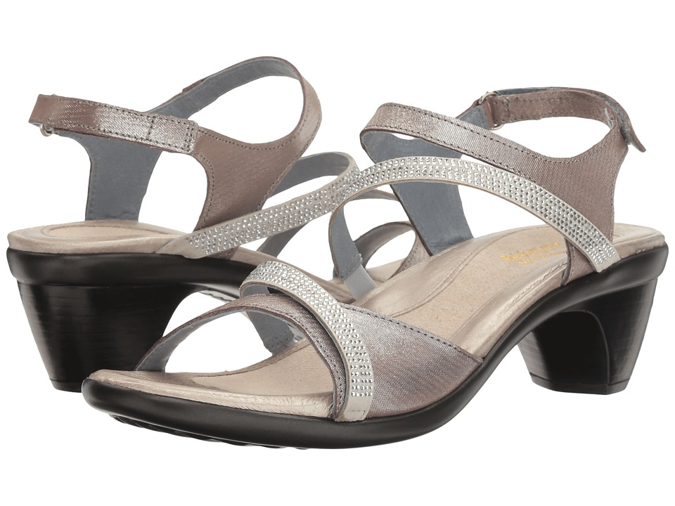 Naot Footwear Innovate (Silver Threads Leather/Beige Microfiber/Clear Rhinestones) Women