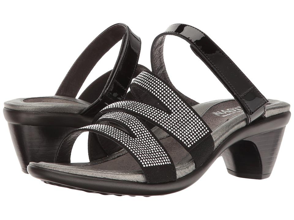 Naot Footwear Formal (Black Patent Leather/Black Microfiber/Silver Rivets) Women