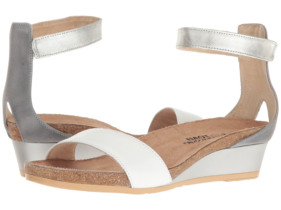 Naot Pixie (White Leather/Vintage Slate Leather/Silver Luster Leather) Sandals