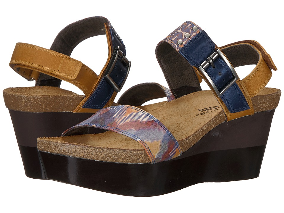 Naot Footwear Alpha Artisan (Oily Dune Nubuck/Yellow/Blue Congo/Polar Sea Leather) Women