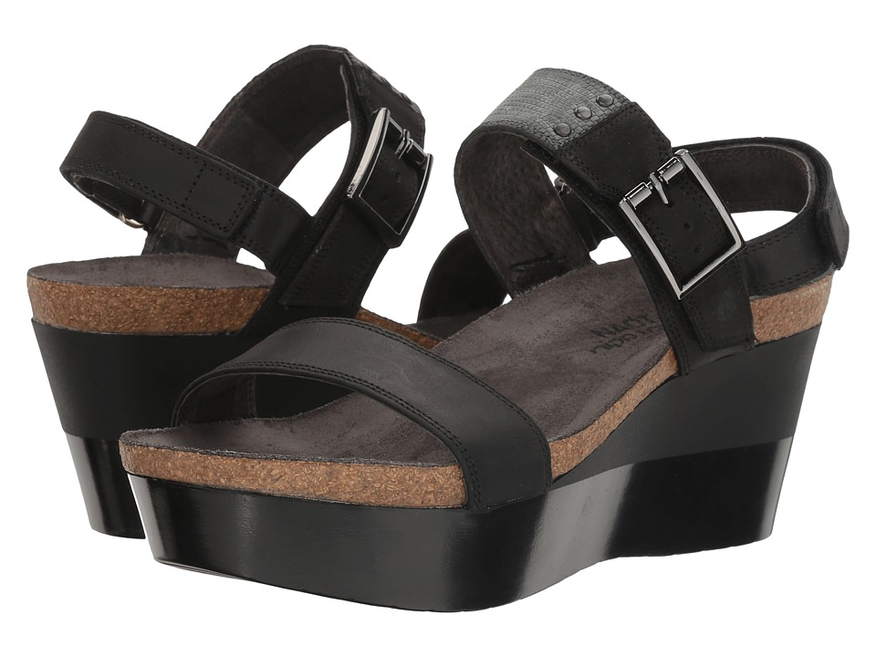 Naot Footwear Alpha (Oily Coal Nubuck/Reptile Gray Leather/Black Velvet Nubuck) Women