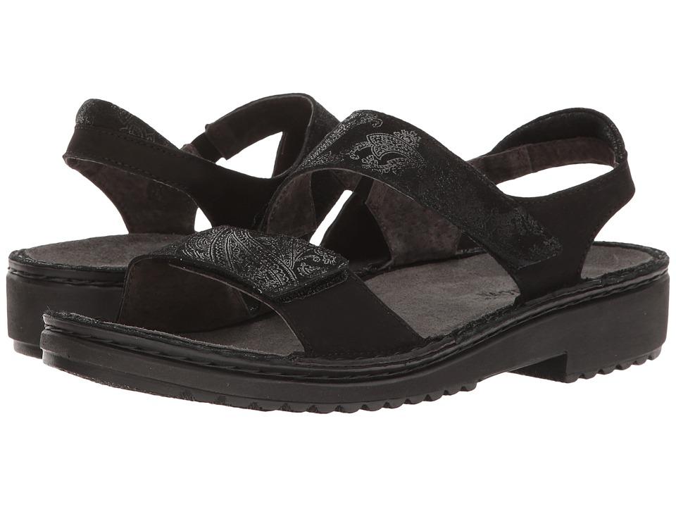 Naot Footwear Enid (Black Lace Nubuck/Black Velvet Nubuck) Women