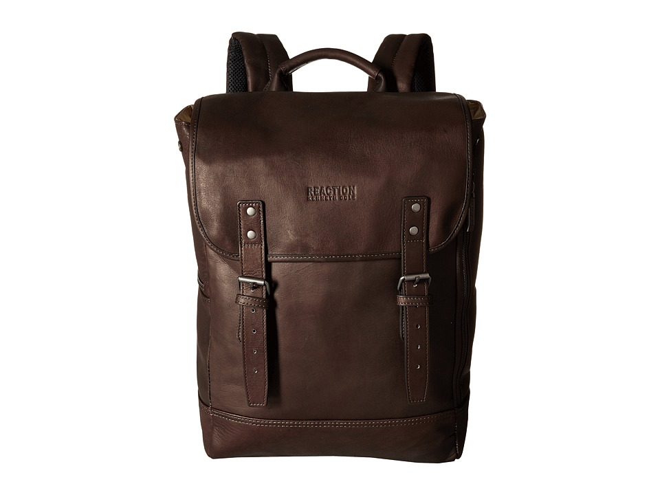 Kenneth Cole Reaction - Colombian Leather - Computer Backpack (Brown) Backpack Bags
