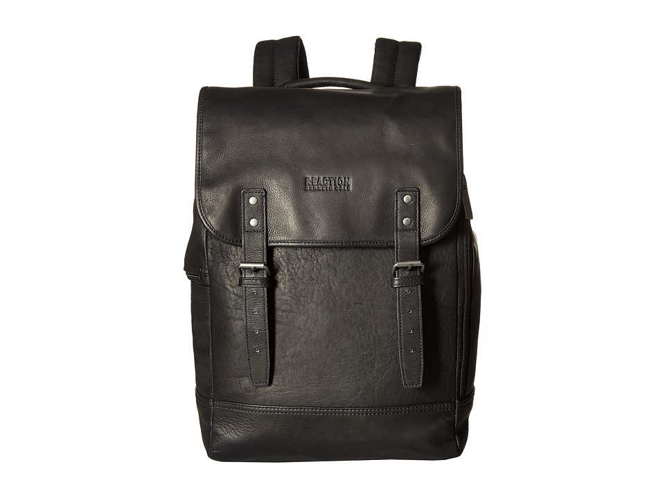 Kenneth Cole Reaction - Colombian Leather - Computer Backpack (Black) Backpack Bags
