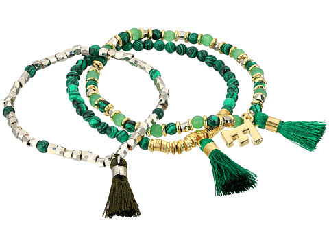 French Connection Set of 3 Semi-Precious Bead with Tassel Stretch Bracelet - Gold/Silver/Green Multi
