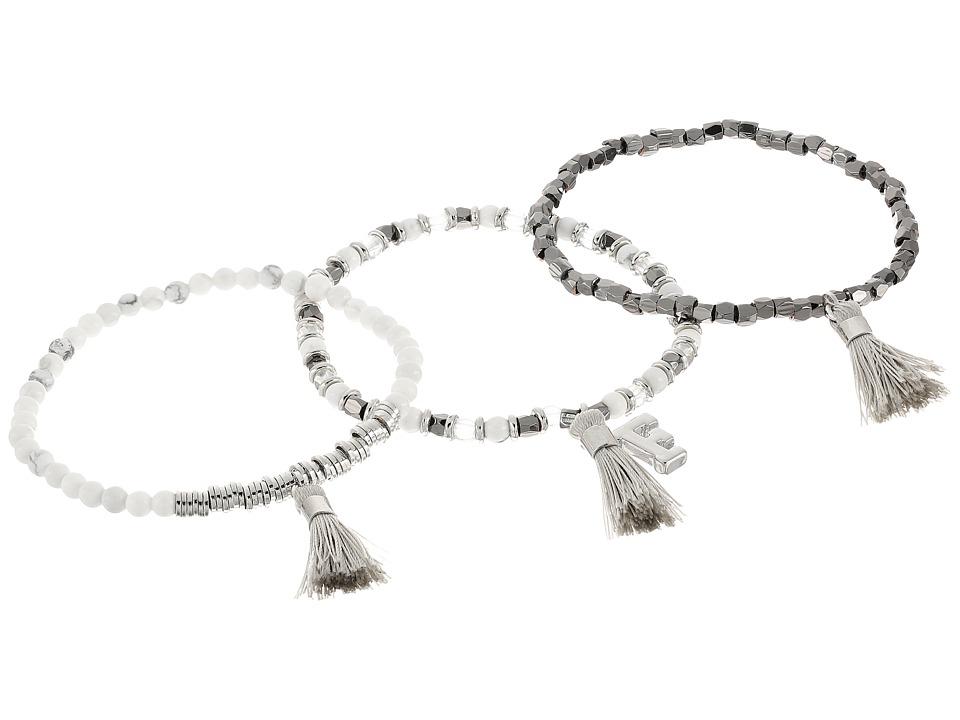 French Connection - Set of 3 Semi-Precious Bead with Tassel Stretch Bracelet (Silver/Hematite/White Multi) Bracelet