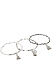 French Connection - Set of 3 Semi-Precious Bead with Tassel Stretch Bracelet