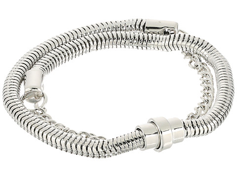 French Connection Chain Mix Double Wrap Bracelet - Silver