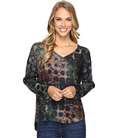 Nally & Millie - Printed Green Taupe V-Neck Tunic